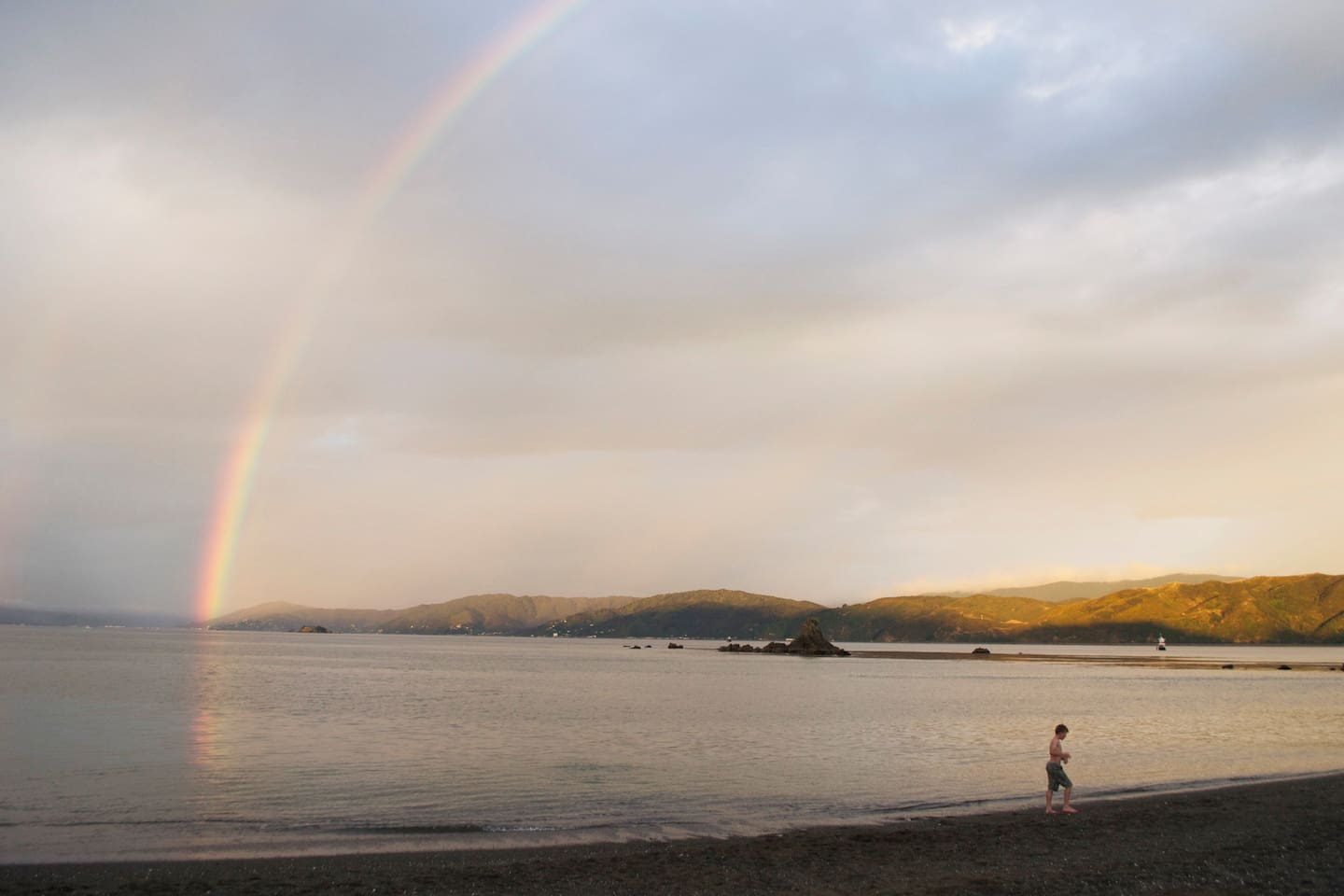 Rainbow over Seatoun beach, a five minute walk from The Lighthouse