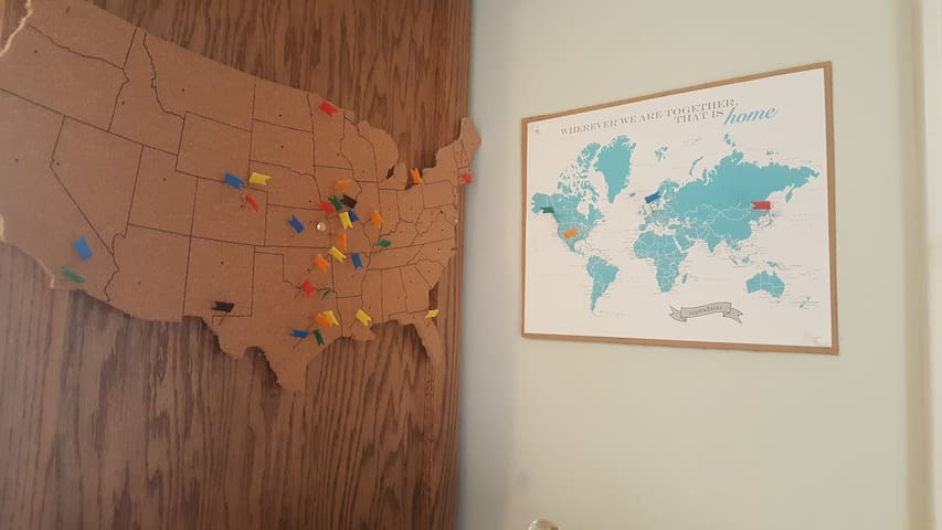 Maps pinpointing places my guests were from
