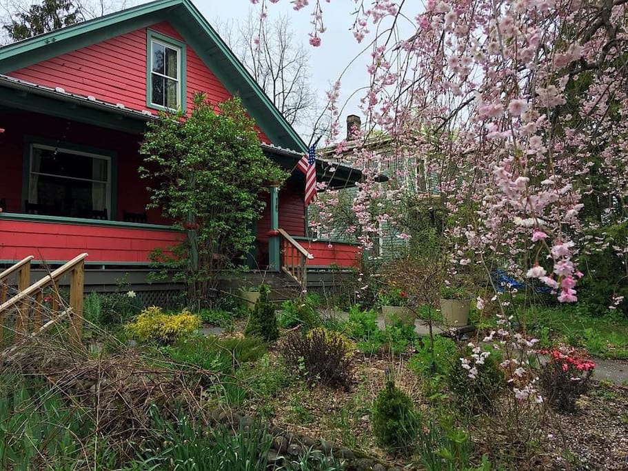 Spring time at Bear Cottage. This rental is perfect for a party of four with two bedrooms (each with a Queen sized bed ).