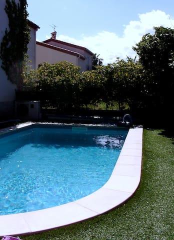 Céret 4 pers RDC 70m2 piscine privée, 5 min centre - Céret - ทาวน์เฮาส์