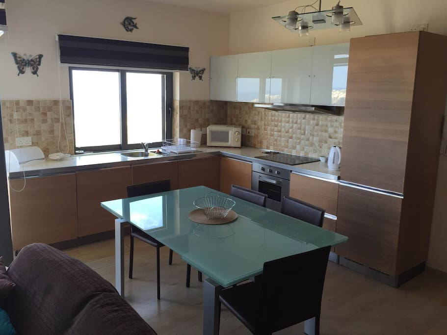 A fully equipped kitchen, including washing machine and dishwasher