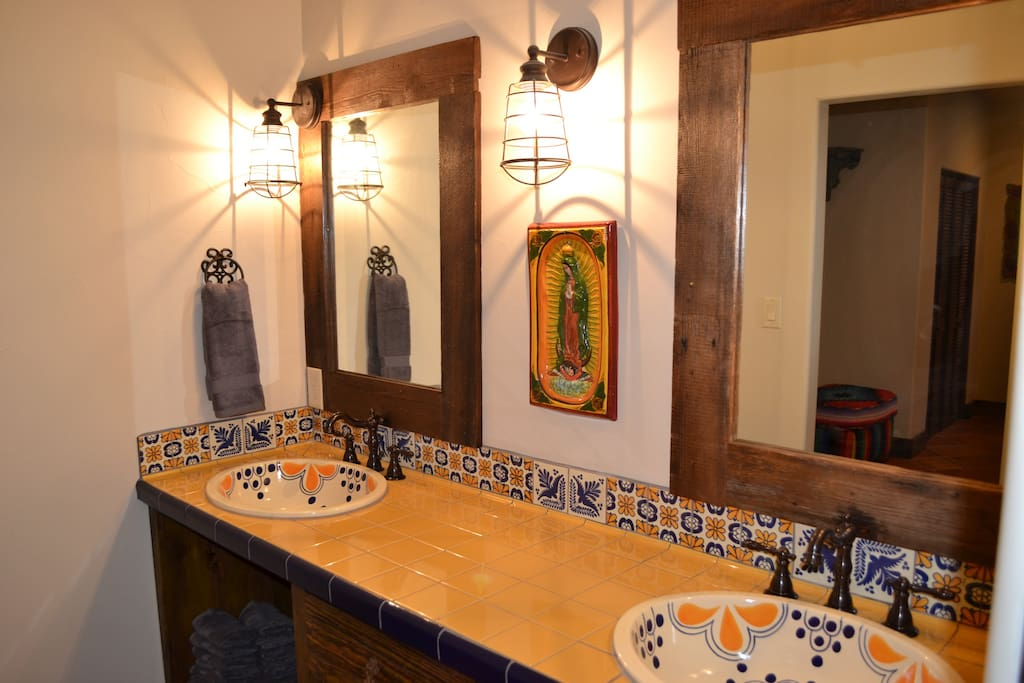 Hand painted sinks/tile work in bath