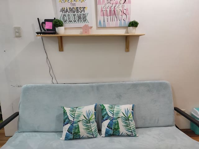 Sofa can be converted into bed. Just pull the seat and the back open into bed.