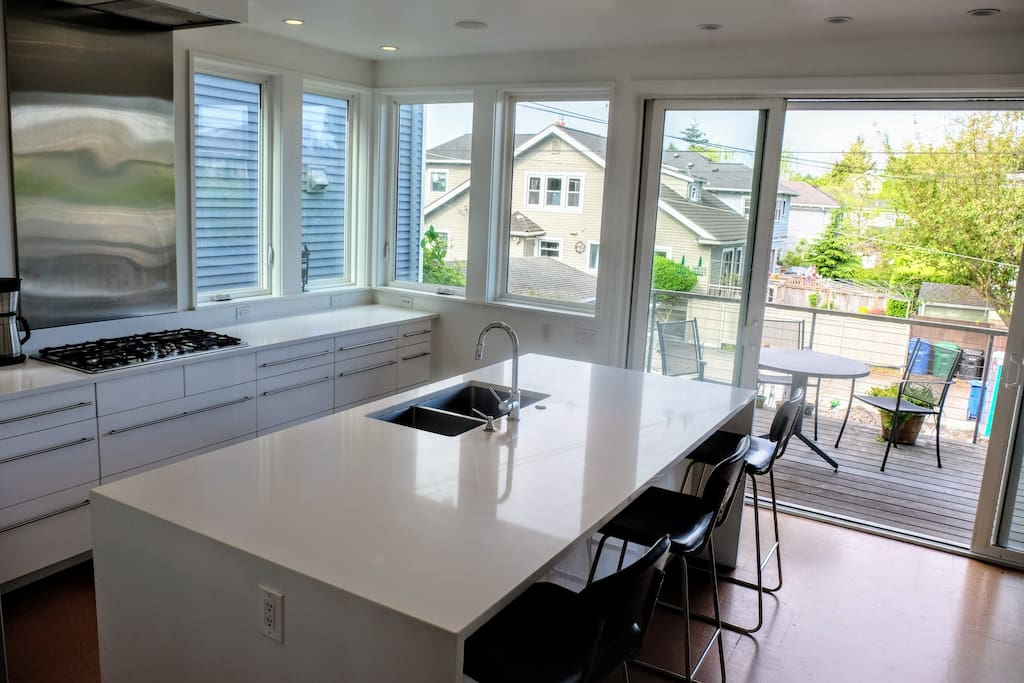 Eat-in kitchen and deck