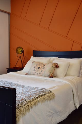 Our signature Master Bedroom; only the finest linens all around, deep sleep guaranteed!