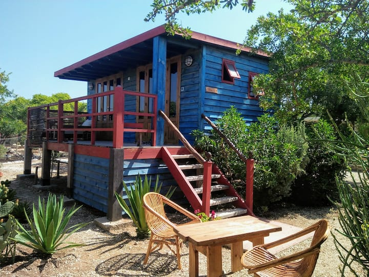 - Cabane bleue en bois dans le gîte rural Bedobled