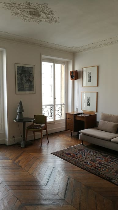 The living room, and its vintage furniture