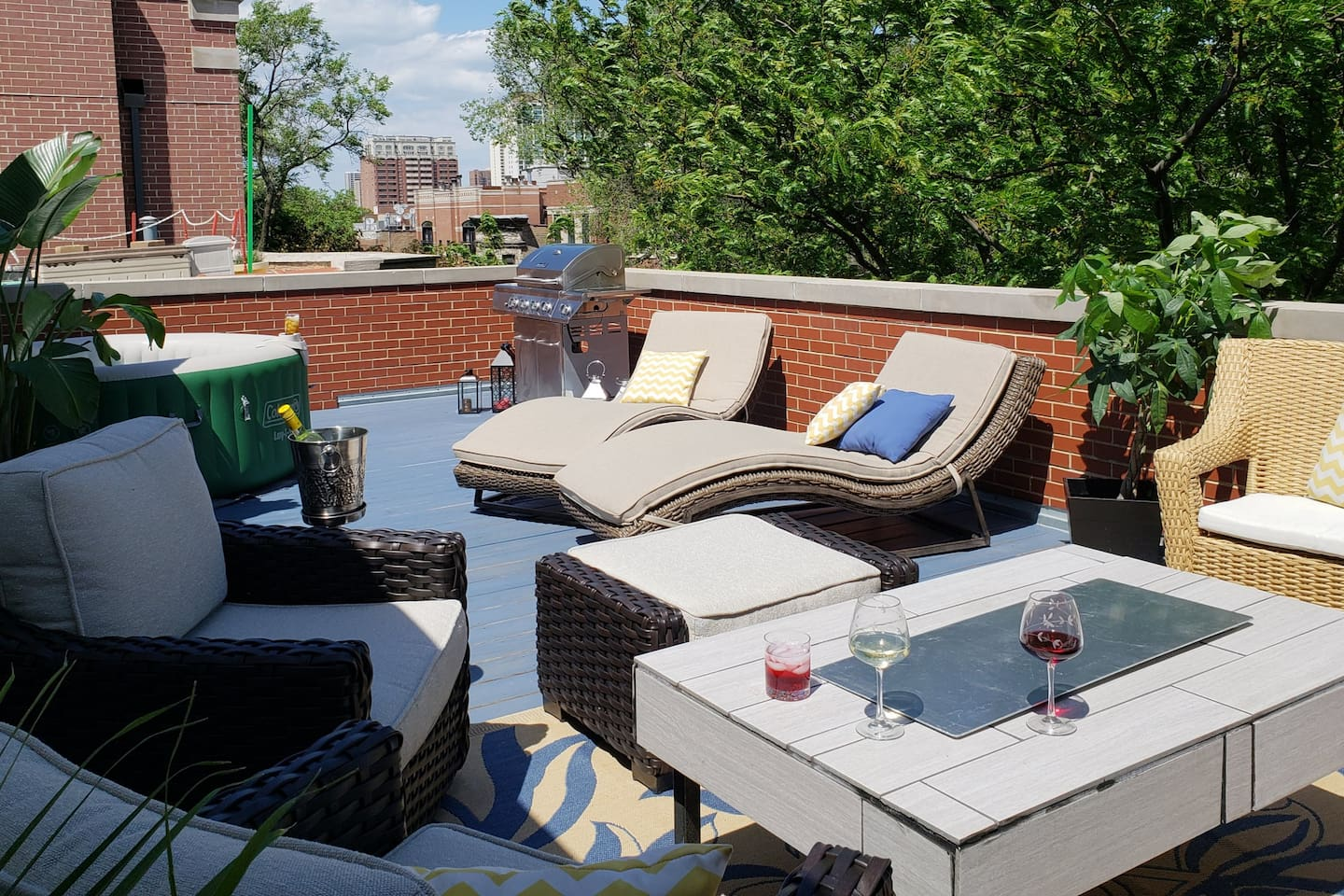 Private Roof Deck, Fire Table, Grill, Hot Tub, Luxury Seating.