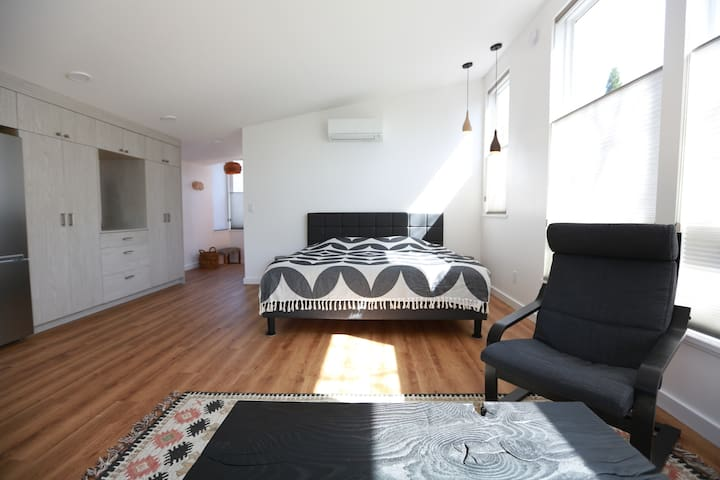 Studio apartment is designed with light and airiness in mind.