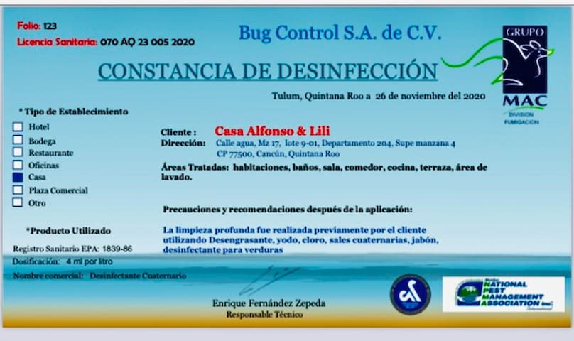 Certificate of Sanitization, required by Mexican Authorities and by Airbnb.