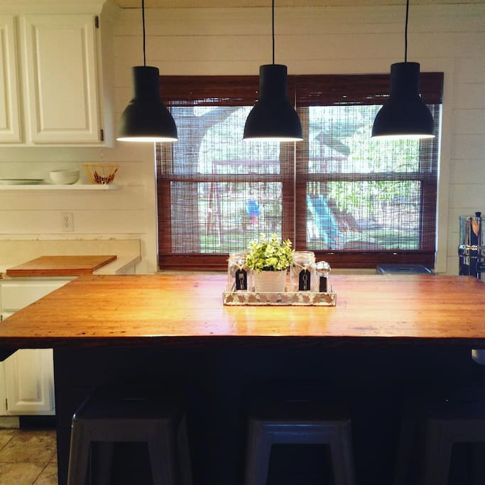 Spacious kitchen with large island that seats 6