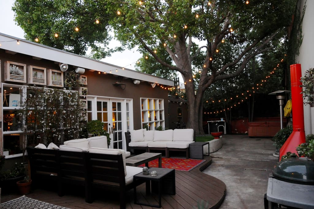 Flip on the twinkly lights at night for some evening patio time.