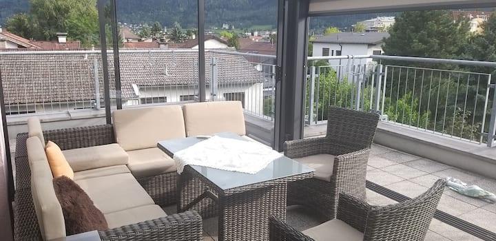 Charmante Unterkunft 1 mit Dachterasse + Bergblick