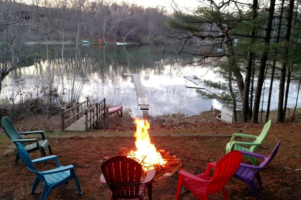 View of the lake from the fire pit