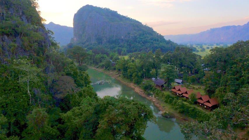 Bungalow DOUBLE near Kong Lor Cave - Hinboun - บังกะโล