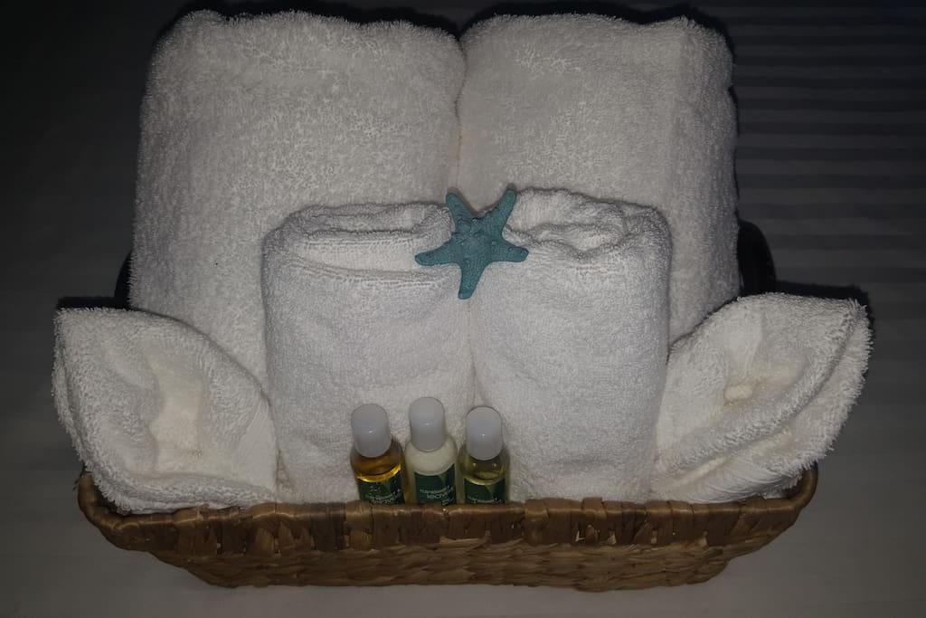 Clean towels and amenities available upon check in at your room