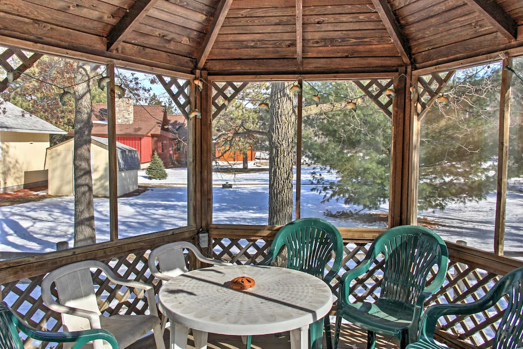 Enjoy home-cooked meals outside on the gazebo off the main cabin.
