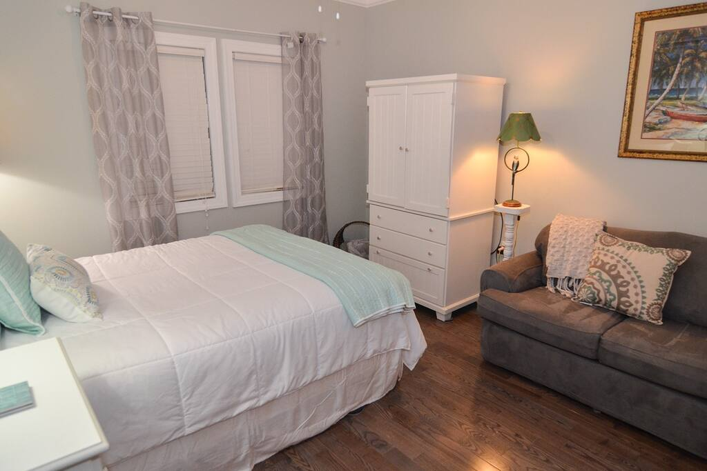 Condo features a plush queen size bed