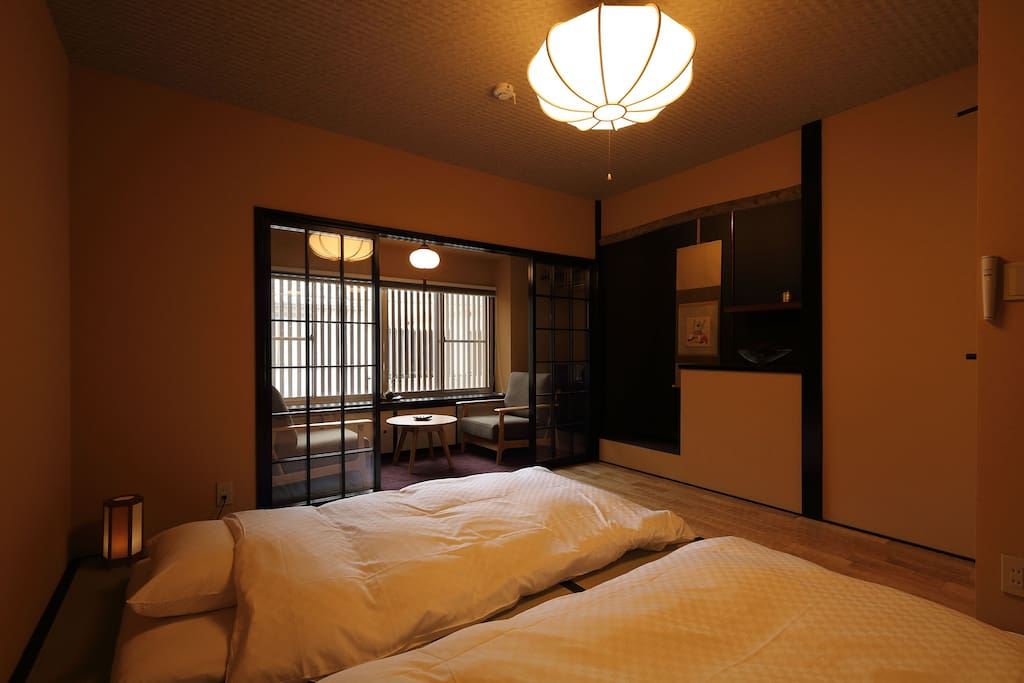 One of the bedroom. Traditional tatami mats and futons.