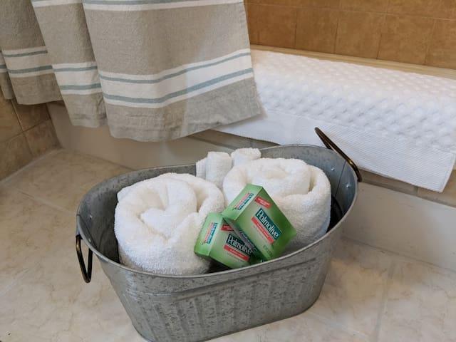 Fresh Bath Towels, Wash Cloths, Soap, And Floor Towel