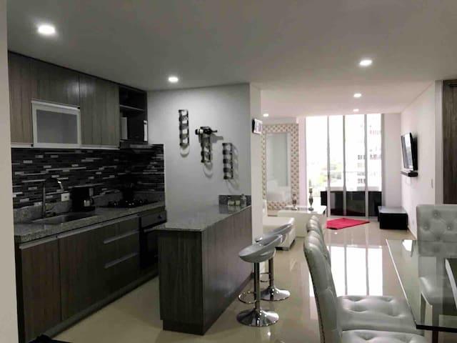 Apartamento completo capasidad 8 huéspedes moderno