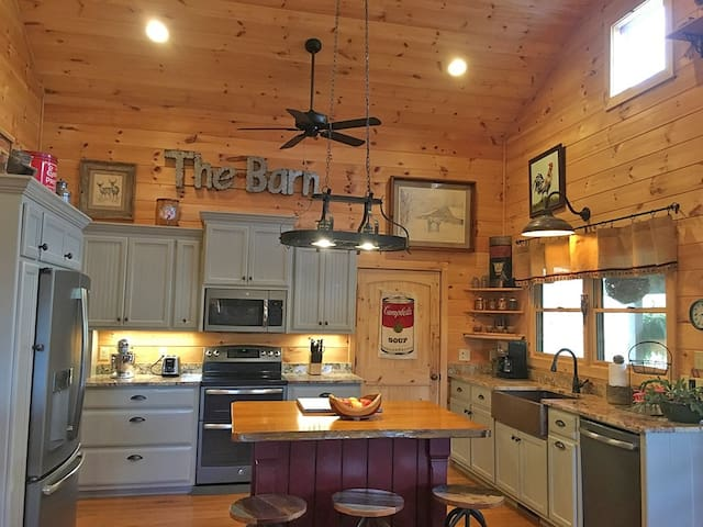 Farmhouse style kitchen fully stocked with everything you'll need!