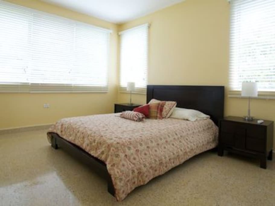 The sunny second bedroom features a queen sized bed.