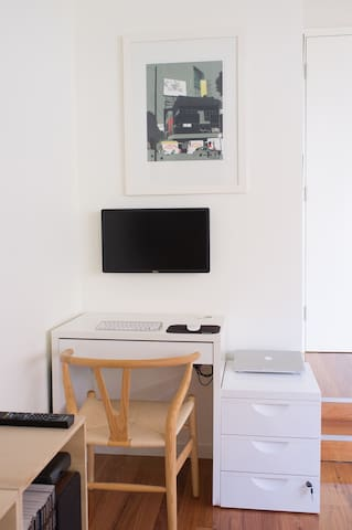 Study nook includes a screen for connecting your laptop to.
