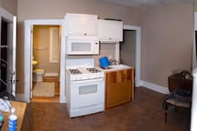 While we highly recommend food from the bar downstairs, apt is equipped with stove and fridge.