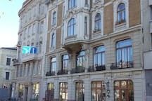 beautiful 1896 bank building on the main street of Lviv city center