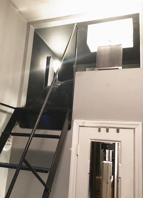 Stairs going upto the cozy loft.