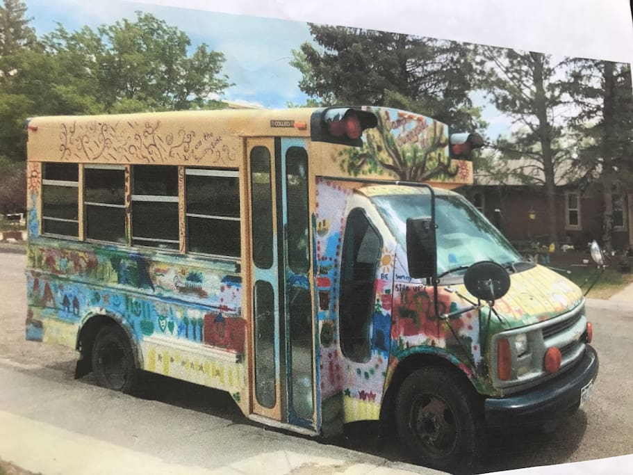 Hippie short bus. $ reasonable to hire a driver (total) drop off- pick up red rocks concerts