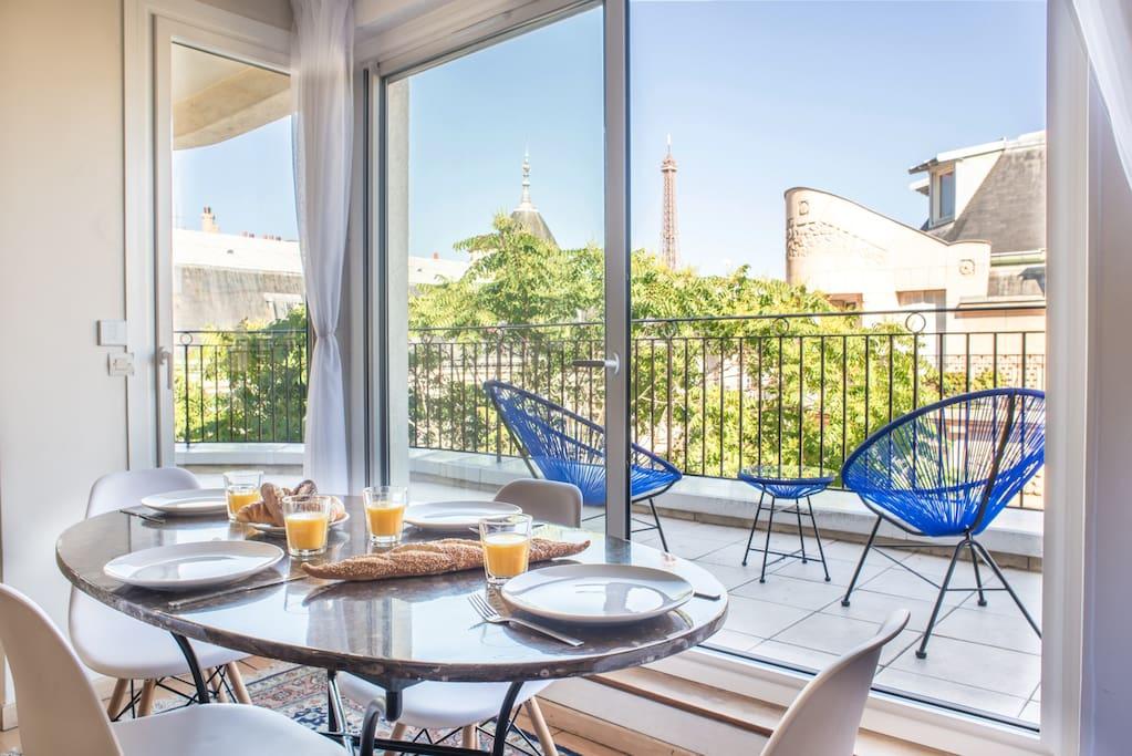 Paris f2 de 75m terrasse vue tour eiffel appartements Terrasse vue paris