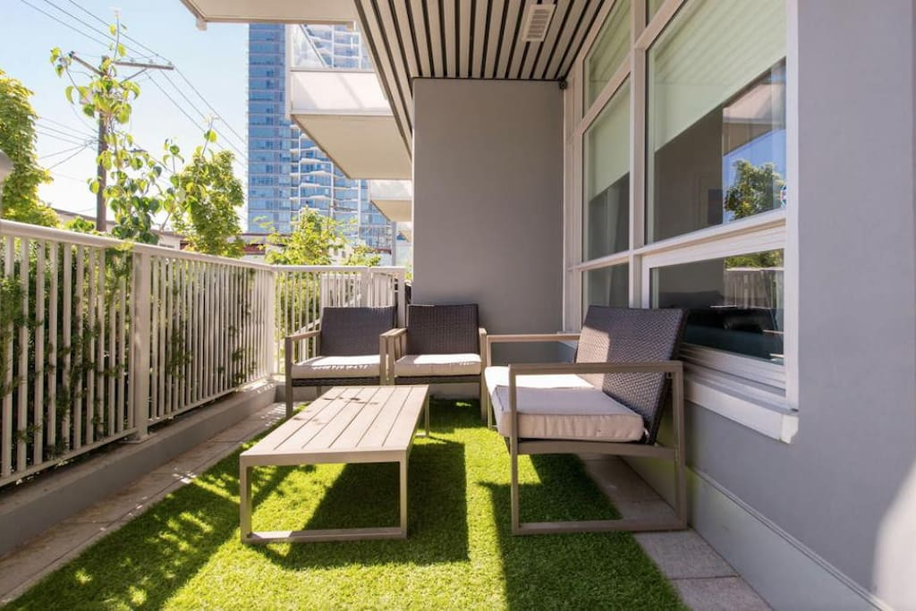 Spacious & private front deck.