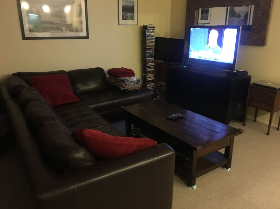 Leather couch in living room