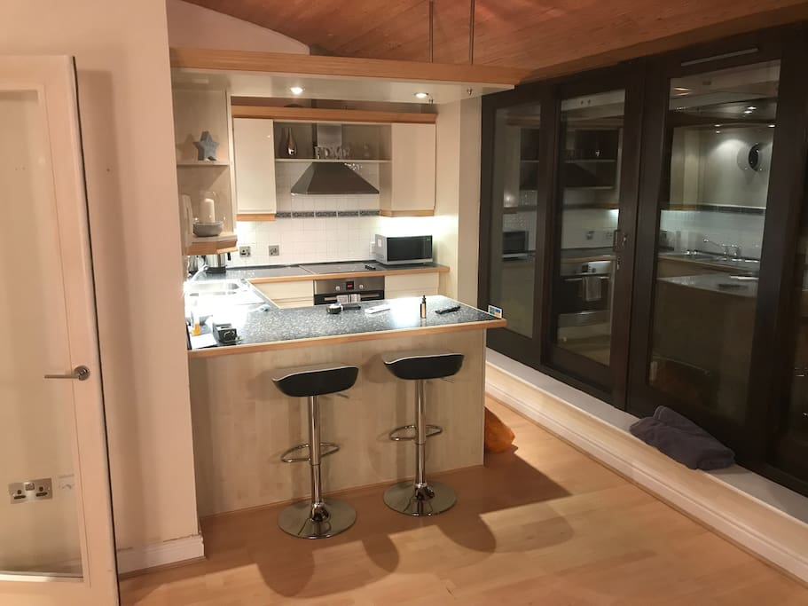 Fully equipped kitchen with work space