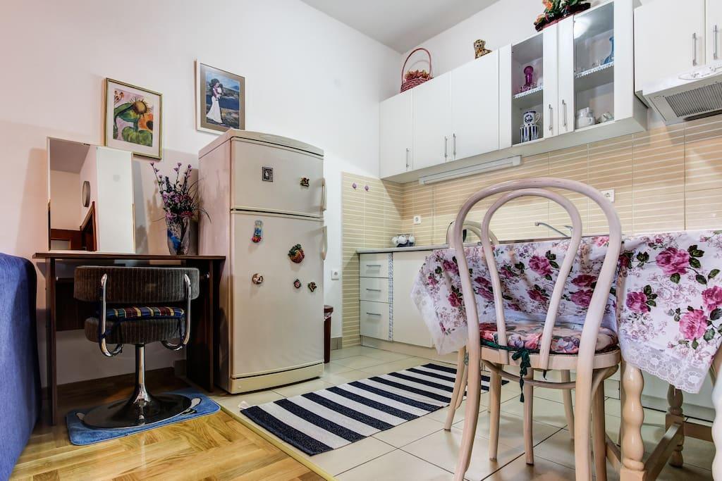 Dining area, Kitchen  Refrigerator