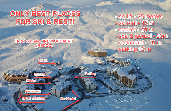 New Gudauri Atlantida Hostel, center of SKIresort!