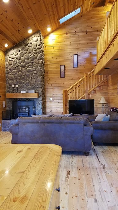 Living Room has a Fireplace, Sofa Sleeper and Dish Satellite TV, and Wi-Fi