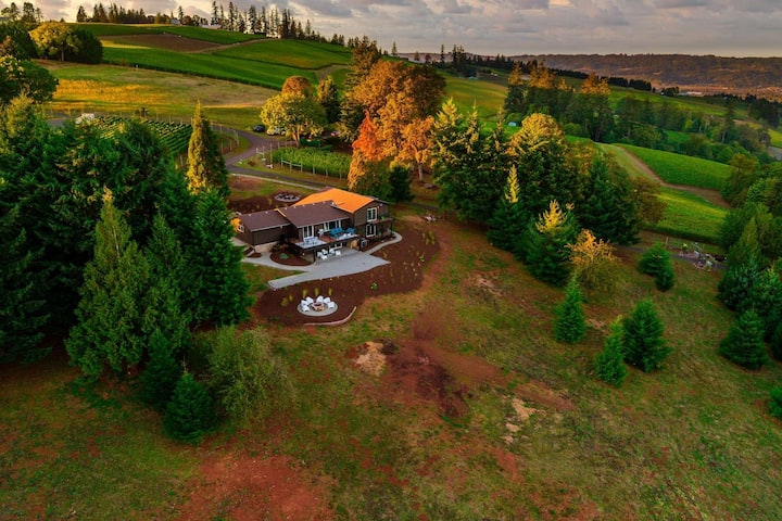Impeccably Groovy Home, Panoramic Vineyard Views, 5 Kings, Huge Deck, Pool Table, Fire-Pits, Bocce