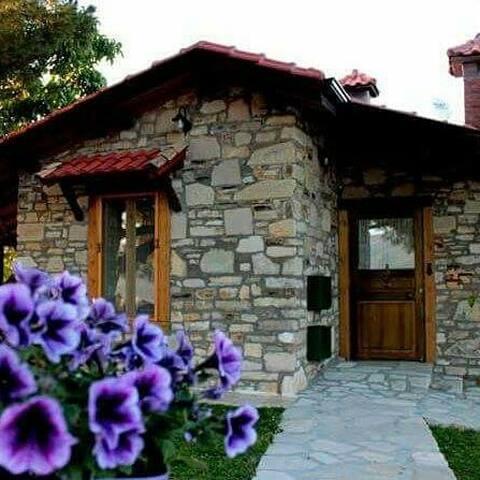 Köyde Doğa Deniz manzaralı bahçeli taş ev