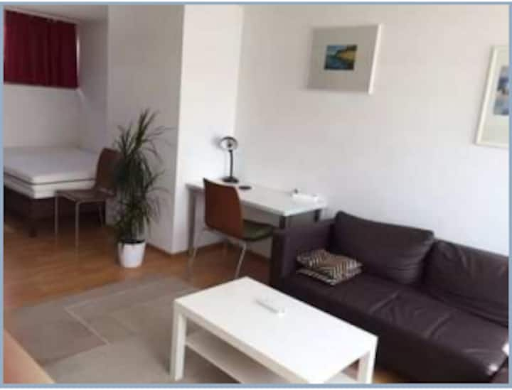 Möblierte Einzimmerwohnung mit Blick ins Grüne