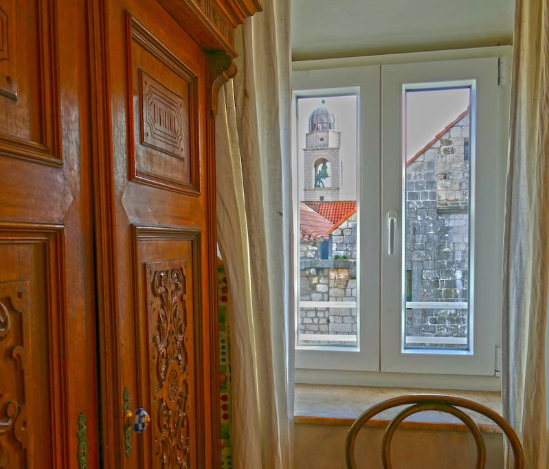 The view on the City Bell Tower from the Master bedroom