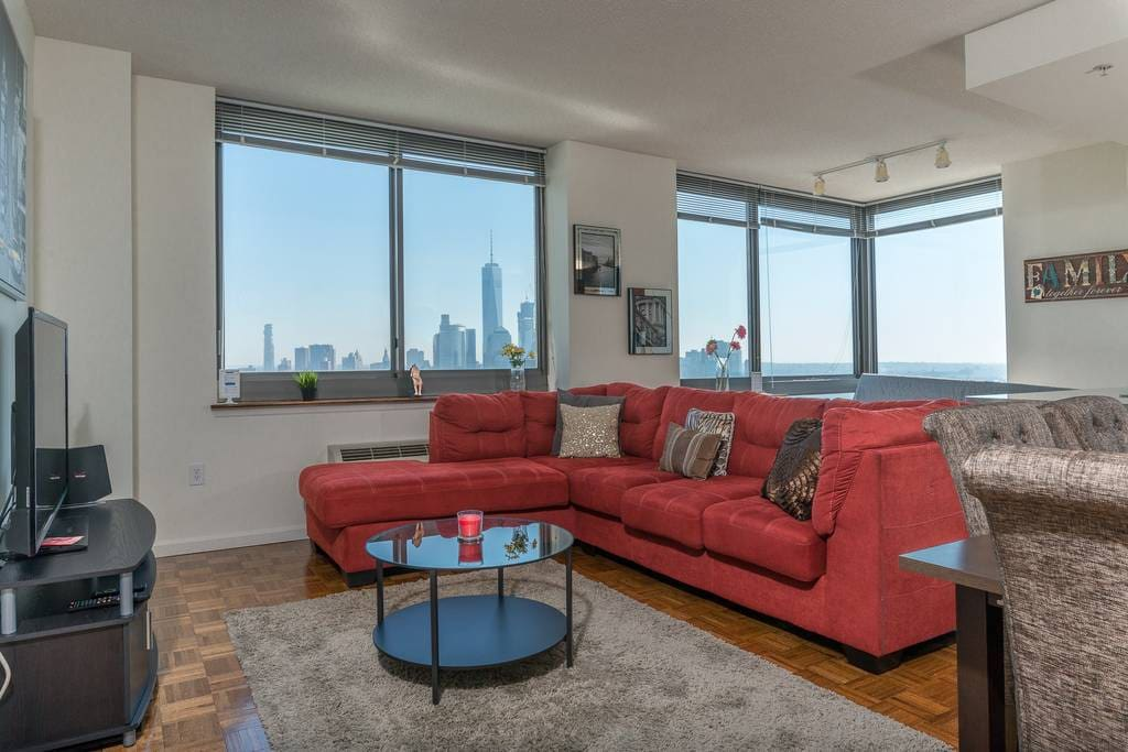 Breathtaking New York City Skyline Views from Living room