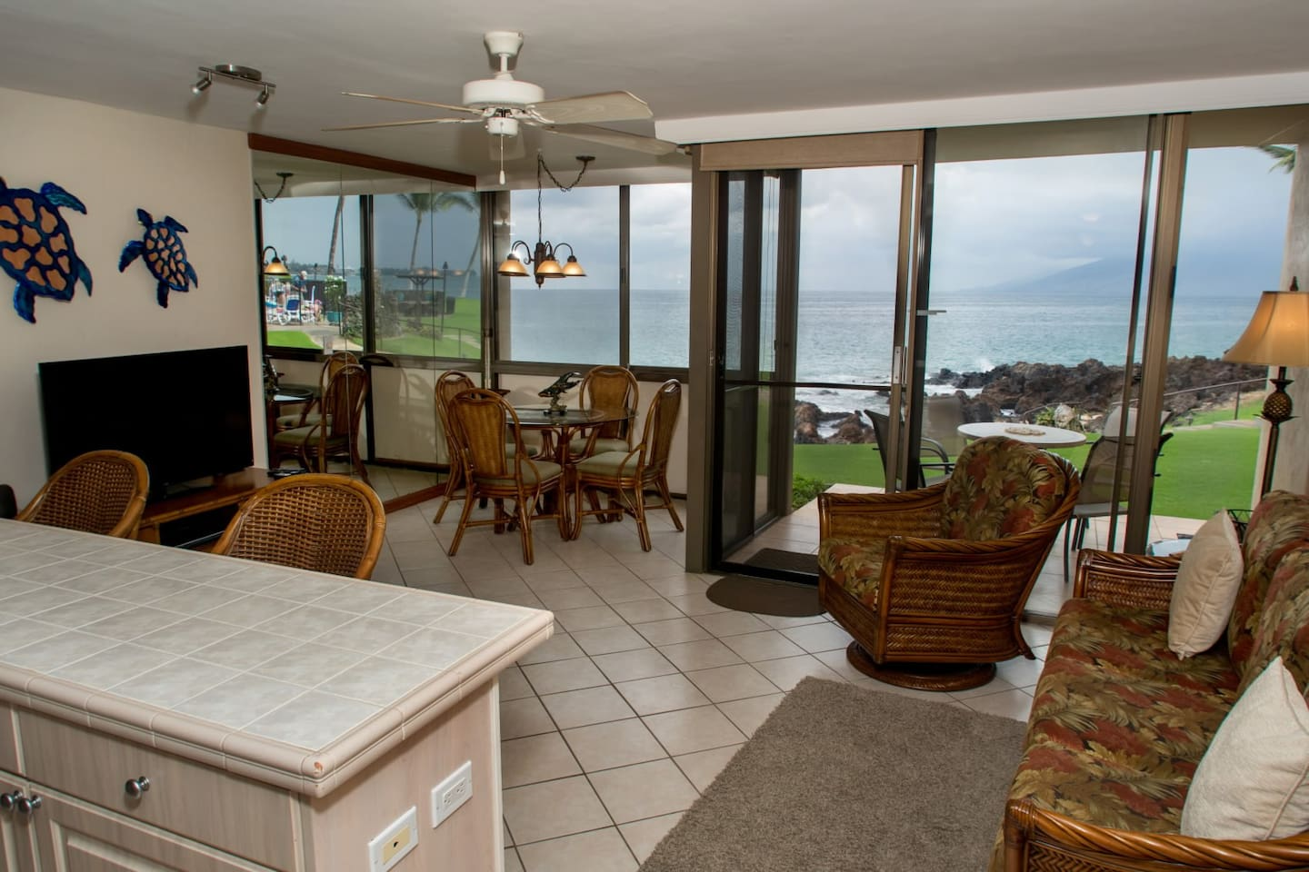Lanai with an amazing ocean front view