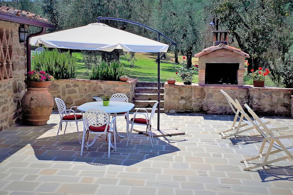 terrace / balcony. Equipped with outdoor furniture. garden view, Tuscan hills or courtyard