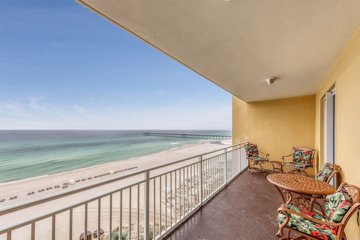 Beachfront condo w/ a private balcony, direct beach access, & shared pool