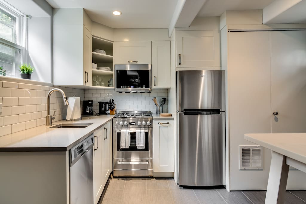 On the main floor is a full kitchen with European-sized appliances!