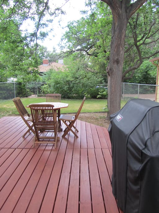 Small fenced backyard. Deck and grill access.