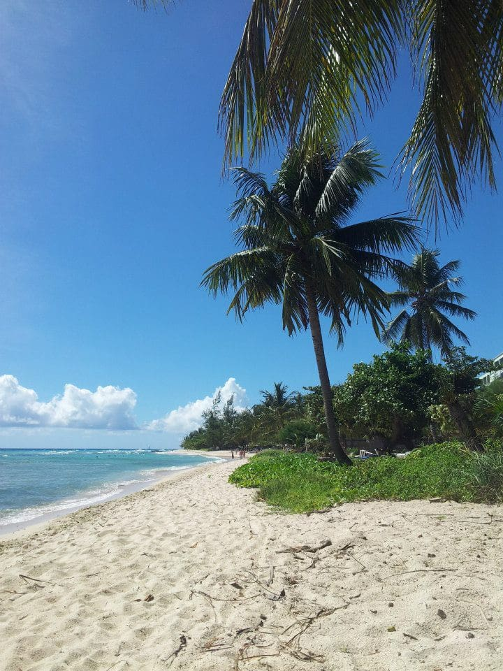 Beach facing west, Bridgetown.